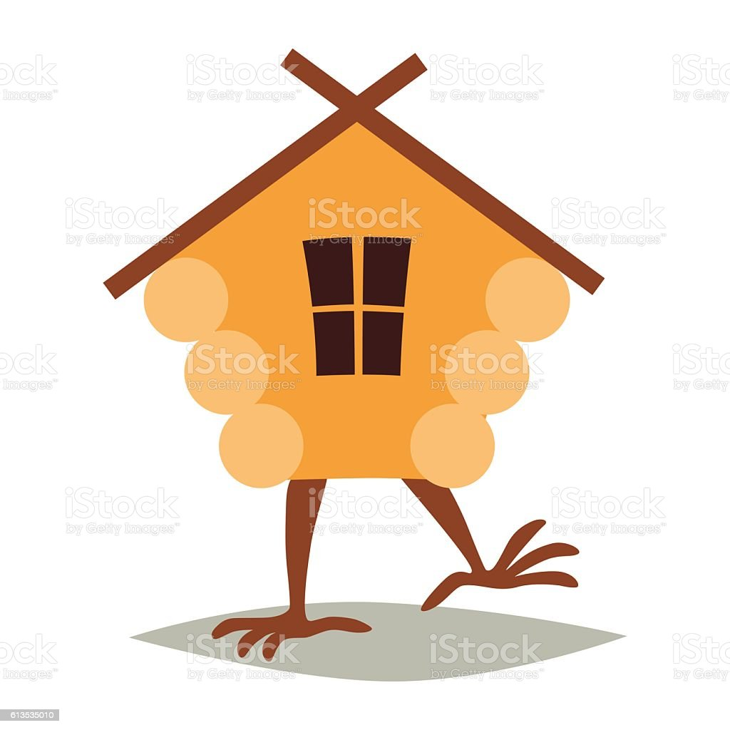 Hut On Chicken Legs Vector Cartoon House With Window Royalty Free