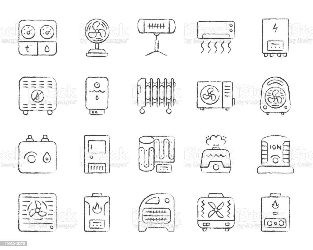 Hvac Charcoal Draw Line Icons Vector Set Stock Illustration