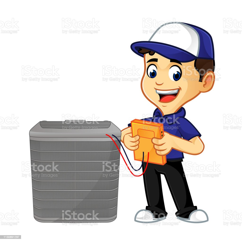 Hvac Cleaner or technician checking ac standing
