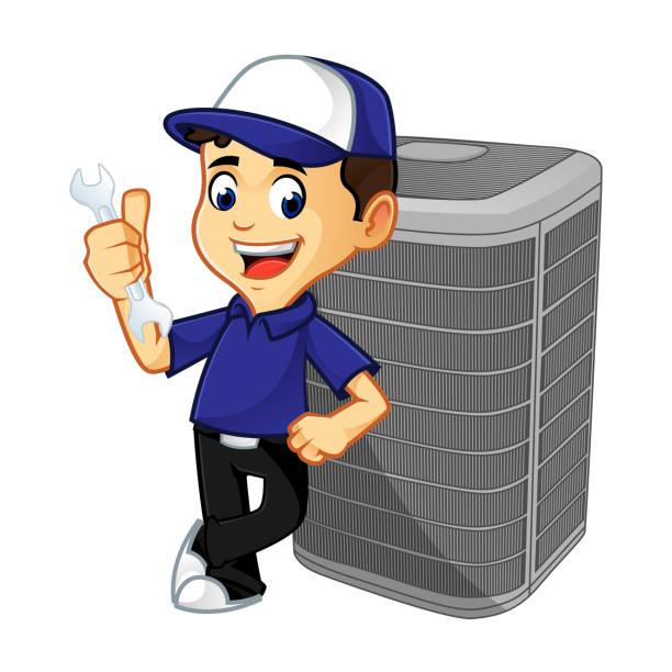 ilustrações, clipart, desenhos animados e ícones de hvac cleaner ou técnico inclinando-se no condicionador de ar - ar condicionado