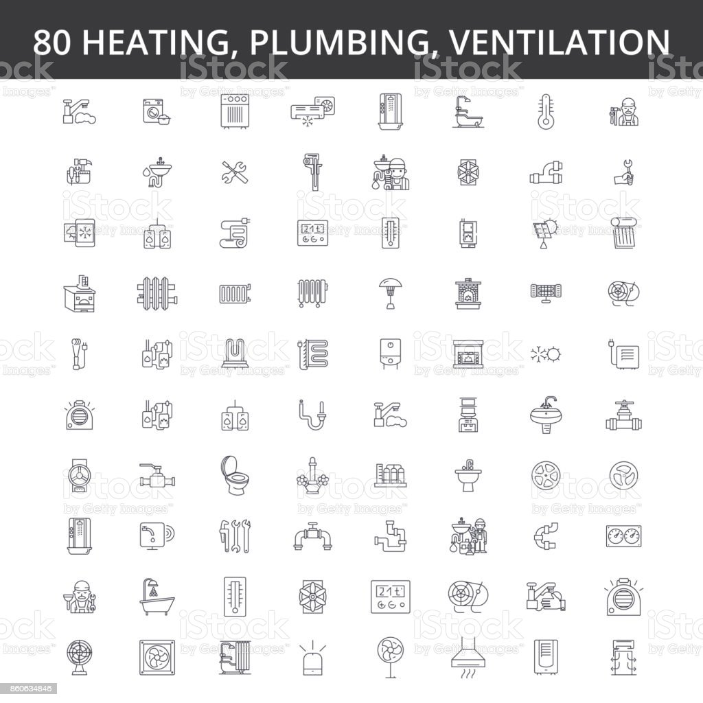 Hvac, heating, air conditioning, ventilation, plumbing service, boiler, home conditioner, engineering, radiator line icons, signs. Illustration vector concept. Editable strokes vector art illustration