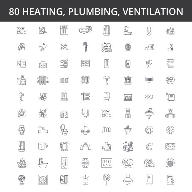 hvac, heating, air conditioning, ventilation, plumbing service, boiler, home conditioner, engineering, radiator line icons, signs. illustration vector concept. editable strokes - plumber stock illustrations, clip art, cartoons, & icons