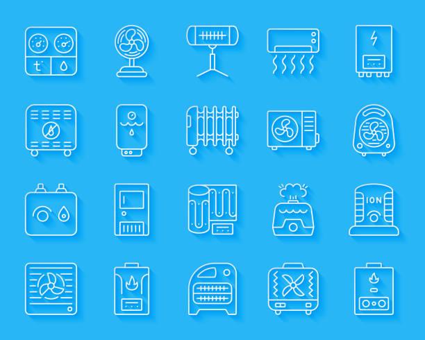 hvac scherenschnitt einfache ikonen-vektor-set - kabelskulpturen stock-grafiken, -clipart, -cartoons und -symbole