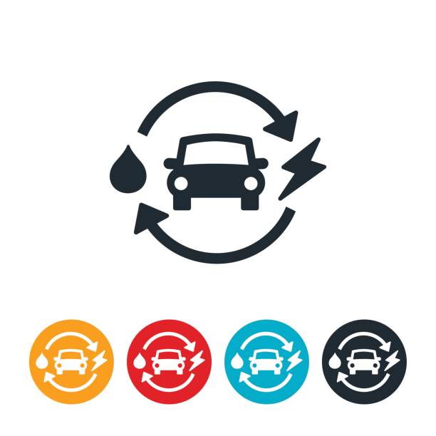 Hybrid Car Icon An icon of a hybrid car. The icon illustrates this concept by showing a car with a droplet of oil and a bolt of electricity. hybrid car stock illustrations