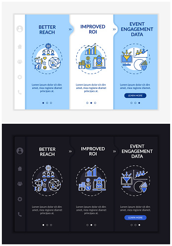 Hybrid gathering benefits onboarding vector template