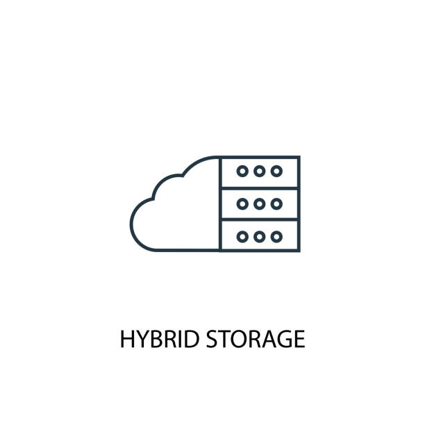 Hybrid Storage concept line icon. Simple element illustration. Hybrid Storage  concept outline symbol design. Can be used for web and mobile UI/UX Hybrid Storage concept line icon. Simple element illustration. Hybrid Storage  concept outline symbol design. Can be used for web and mobile UI/UX hybrid vehicle stock illustrations