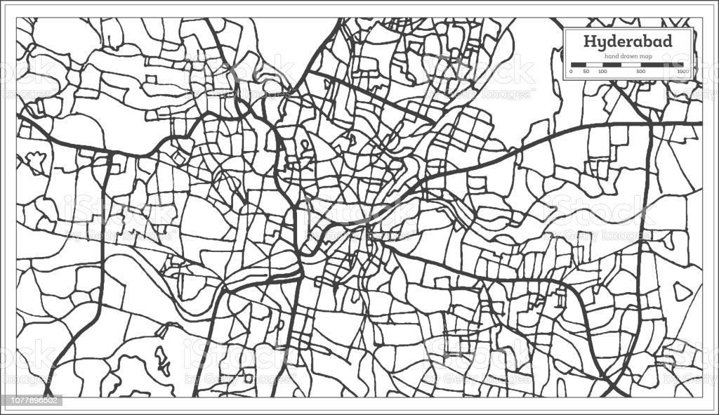 Hyderabad India City Map In Retro Style Outline Map Stock Vector Art