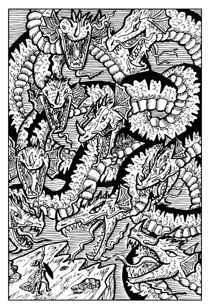 Hydra, water serpent monster Hand drawn vector illustration. Engraved line art drawing, black and white doodle. See all fantasy collection in my portfolio set rymdraket stock illustrations