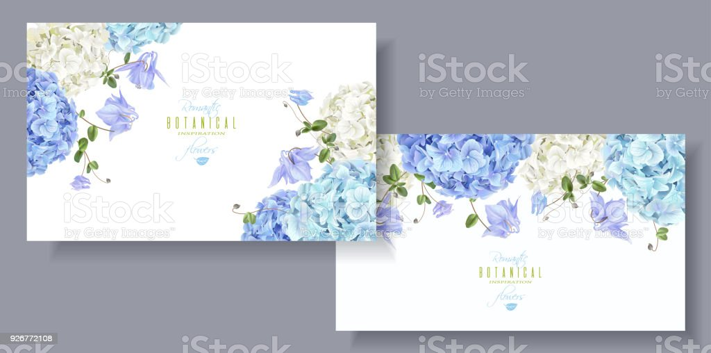 Hydrangea horizontal banners blue vector art illustration