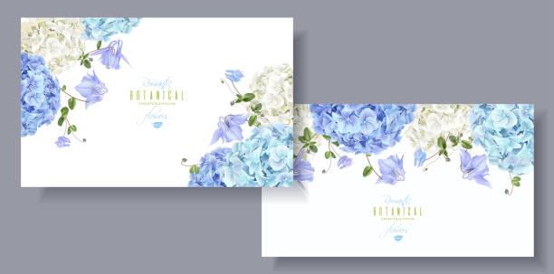stockillustraties, clipart, cartoons en iconen met hortensia horizontale banners blauw - hortensia
