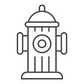 Hydrant thin line icon. Fireplug or street water pipe outline style pictogram on white background. Firefighting signs for mobile concept and web design. Vector graphics