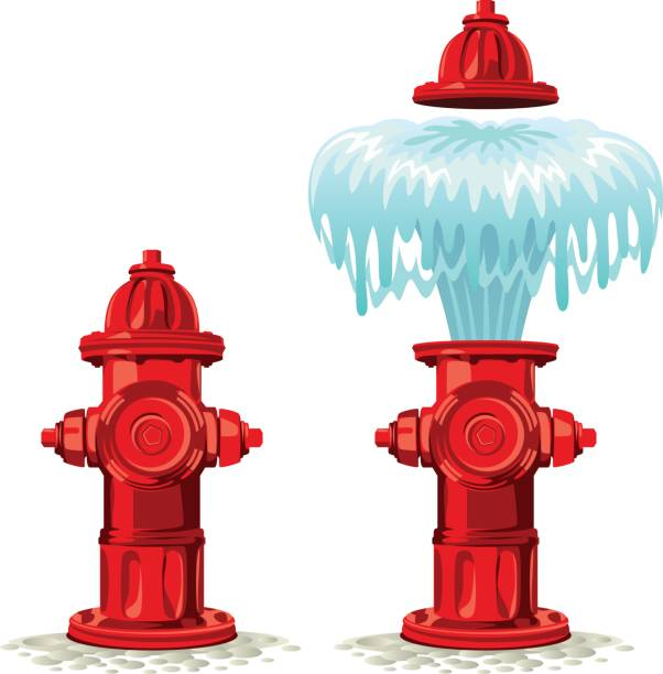 Hydrant Hydrant breakdown on a white background fire hose stock illustrations