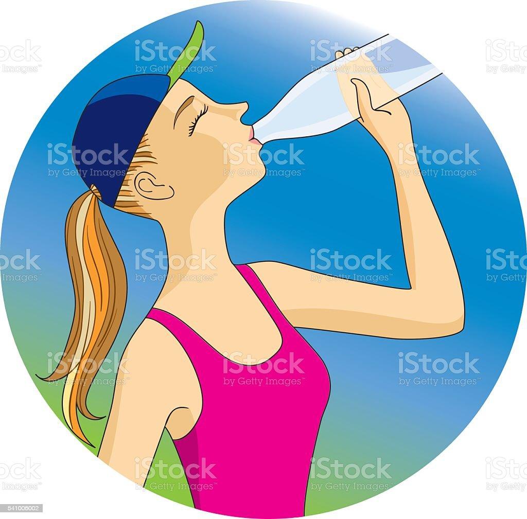 エクササイズ中の水分補給 イラストレーションのベクターアート素材や