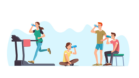 Hydration set. Men & women athletes doing exercises & resting drinking water. Sports people training, working out, jogging on treadmill, sitting & relaxing. Sport & wellness. Flat vector illustration