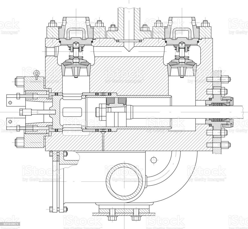 Hydraulic piston pump part vector art illustration