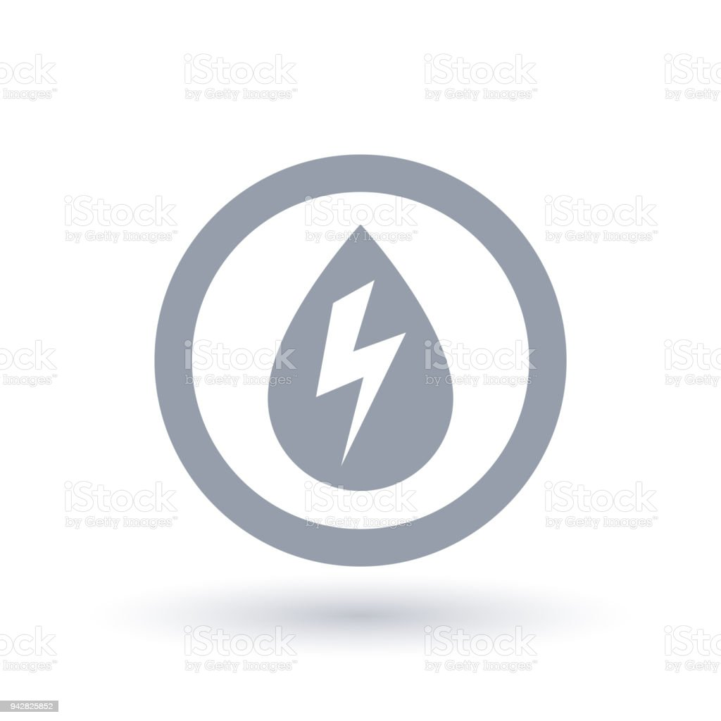 Hydro Electricity Icon Water Drop With Energy Bolt Symbol Stock