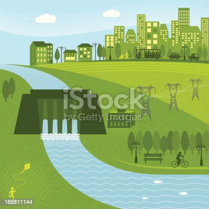 Hydro energy powering a city