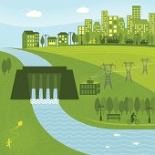 Hydro energy powering a city