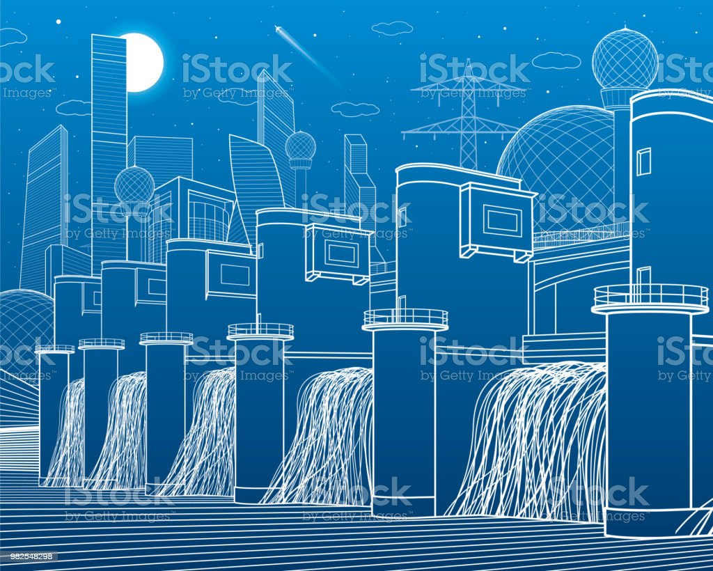 Hydro Power Plant River Dam Energy Station City Infrastructure Circuit Diagram Industrial Illustration Modern