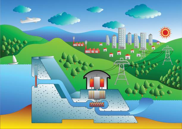 Hydroelectric dam vector art illustration