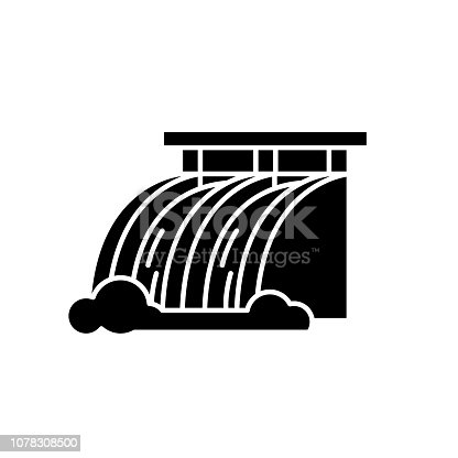 Hydroelectric power station black icon, concept vector sign on isolated background. Hydroelectric power station illustration, symbol