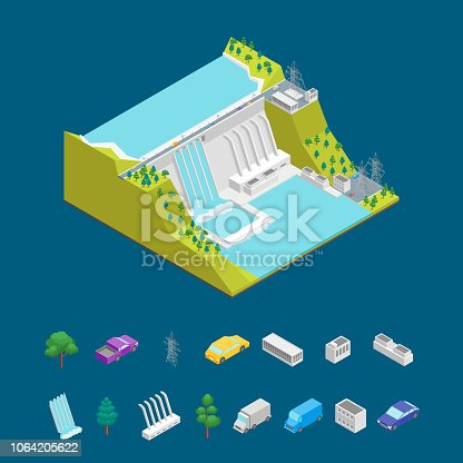 Hydroelectric Power Station Concept and Elements 3d Isometric View Symbol of Renewable Source Hydropower. Vector illustration of Hydroelectric Dam Building