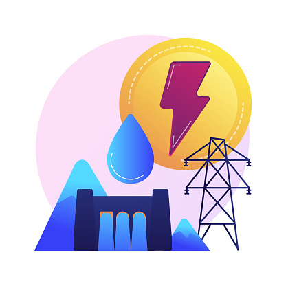 Hydroelectric power station, water mass energy using, dam and reservoir. Channel streams and tidal movements power, hydro energy generation. Vector isolated concept metaphor illustration.