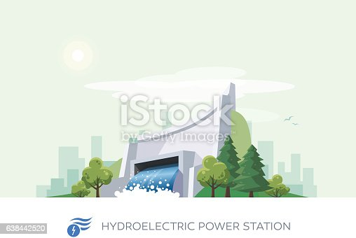 Vector illustration of hydroelectric water power station building icon with sun and urban city skyscrapers skyline on green turquoise background.