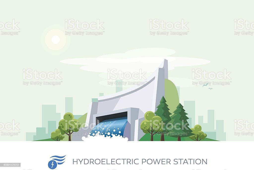 Hydroelectric Water Power Station vector art illustration