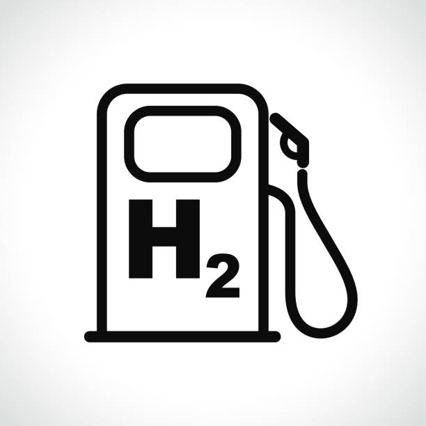 illustrazioni stock, clip art, cartoni animati e icone di tendenza di hydrogen car station icon on white background - idrogeno