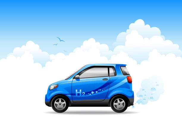 stockillustraties, clipart, cartoons en iconen met hydrogen car - waterstof