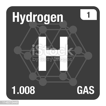 Vector Icon of Hydrogen Periodic Table of Elements with Crystal System Background