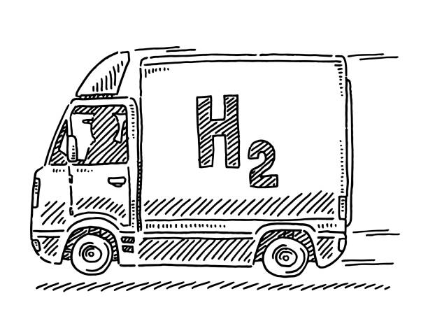 Hydrogen Powered Vehicle Drawing vector art illustration