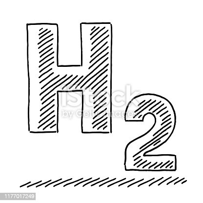 Hand-drawn vector drawing of a H2 Hydrogen Text Symbol. Black-and-White sketch on a transparent background (.eps-file). Included files are EPS (v10) and Hi-Res JPG.