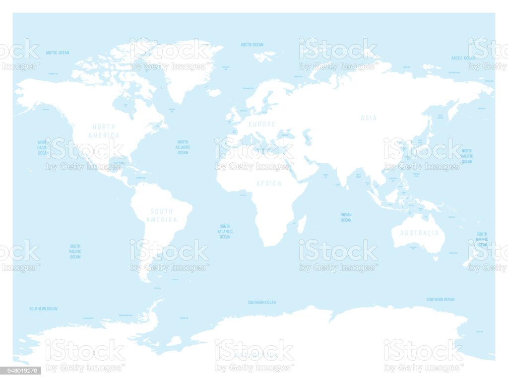 Hydrological Map Of World With Labels Of Oceans Seas Gulfs Bays And