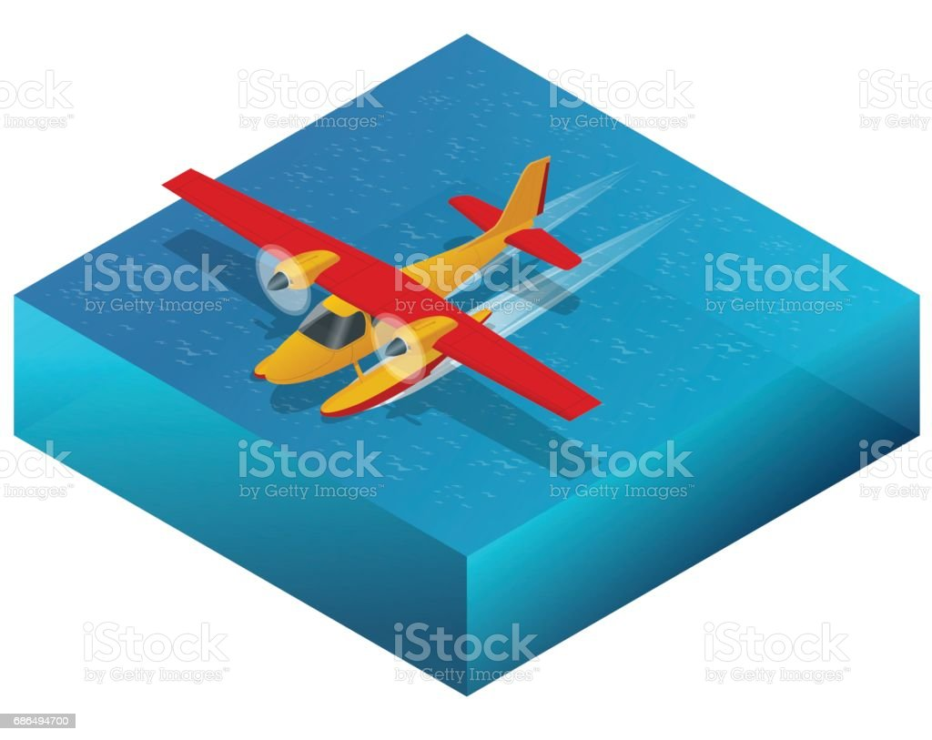 Hydroplane On The Water Flat 3d Isometric Illustration For Infographics  Games And Design Air Transport For Travel And Work Stock Illustration -