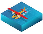 Hydroplane on the water. Flat 3d isometric illustration For infographics, games and design. Air transport for travel and work