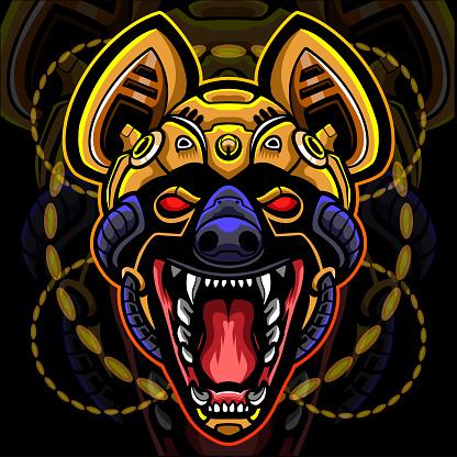Hyena head robot mascot. esport logo design