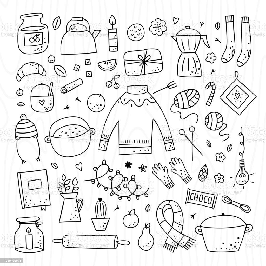 Ilustración de Hygge Elementos Y Objetos Lindos Conjunto Dibujado A ...
