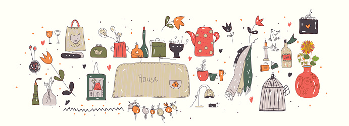 Hygge illlustration for home with pottery and house accessories.