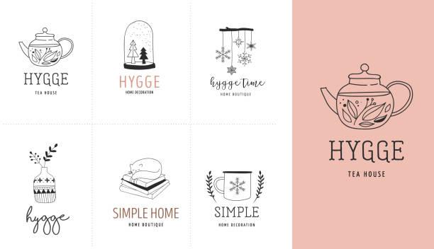 hygge - einfaches leben in dänisch, sammlung von hand gezeichnet, elegant und sauber logos, elemente - möbeldesign stock-grafiken, -clipart, -cartoons und -symbole