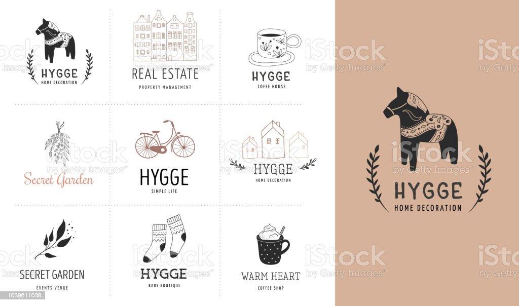 Ilustración de Hygge Vida Simple En Danés Colección De Mano Dibujado ...