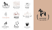 Hygge - Simple Life in Danish, collection of hand drawn elegant and clean logos, icon and graphic elements