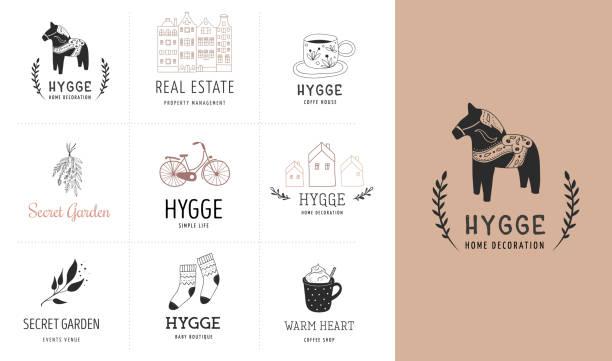 bildbanksillustrationer, clip art samt tecknat material och ikoner med hygge - simple life i danska, samling av hand dras eleganta och rena logotyper, element - swedish nature