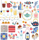 Hygge style decorations set. Danish lifestyle cozy mood vector illustration.