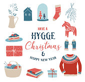 Hygge winter elements and concept design, Merry Christmas card, banner, background, vector illustration