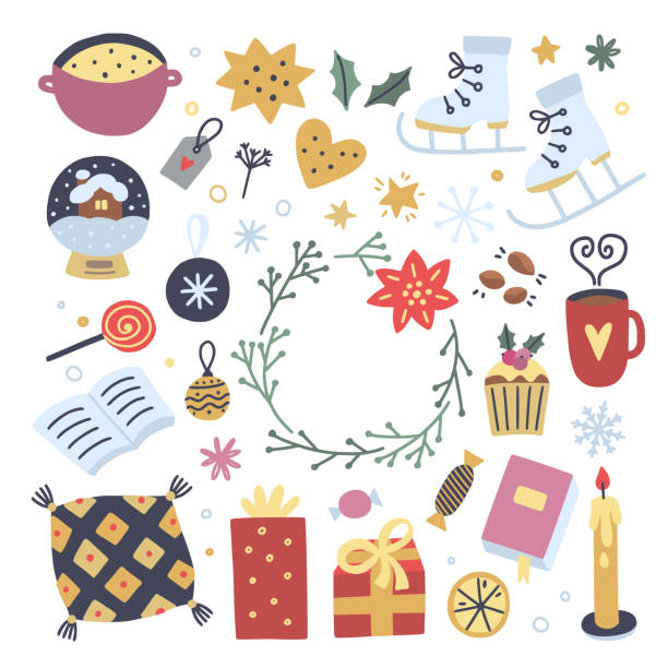 ilustrações de stock, clip art, desenhos animados e ícones de hygge winter elements on white background. cute cozy interior objects and illustrations for decoration christmas greeting cards - hygge