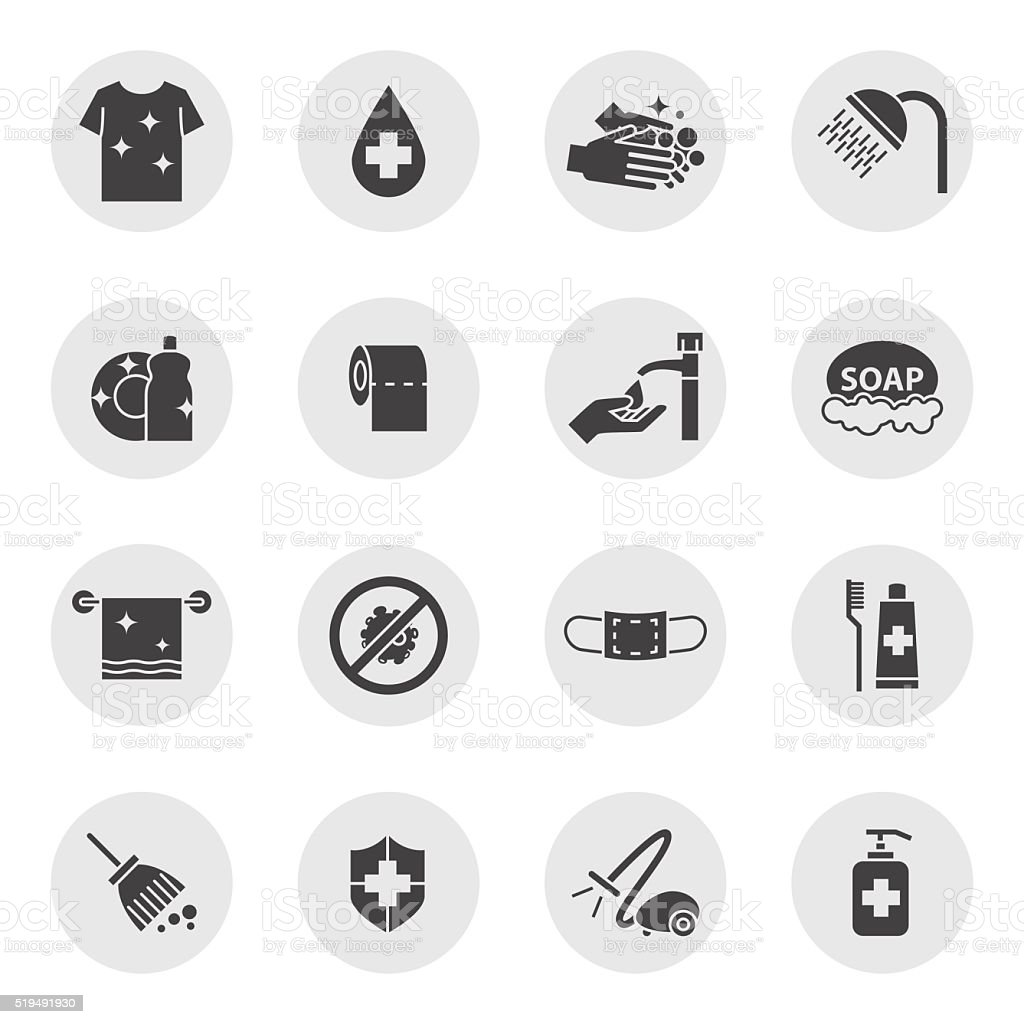 hygiene and Cleaning icons set vector art illustration