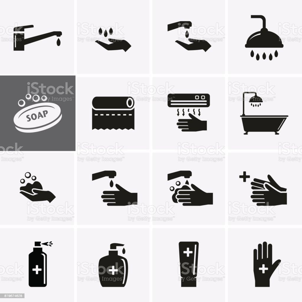 Hygiene and Sanitation Icons. vector art illustration