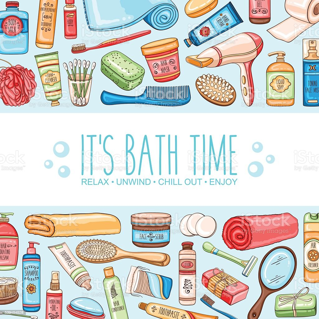 Hygiene background with bathroom accessories and cosmetics vector art illustration